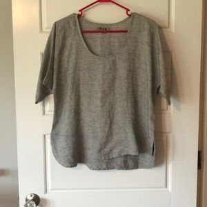Flax Stripe Round Hem Linen Shirt